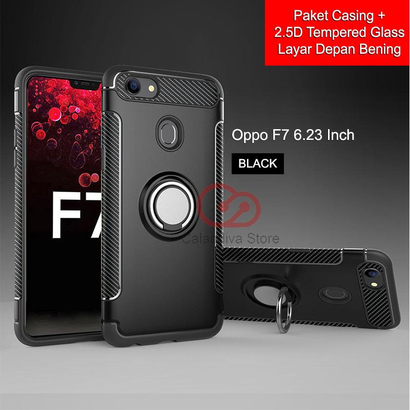 Calandiva Ring Carbon Kickstand Hybrid Premium Quality Grade A Case for Oppo F7 6.23 Inch + Rounded