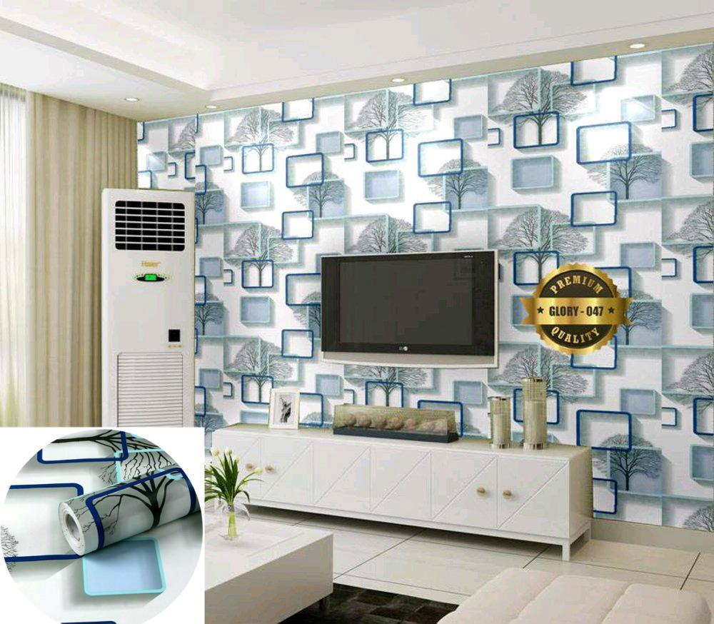 Jual Wallpaper Murah Garansi Dan Berkualitas Id Store Lux 5 28 Prb Luxurious Sticker Motif Garis Salur Biru Rp 44000