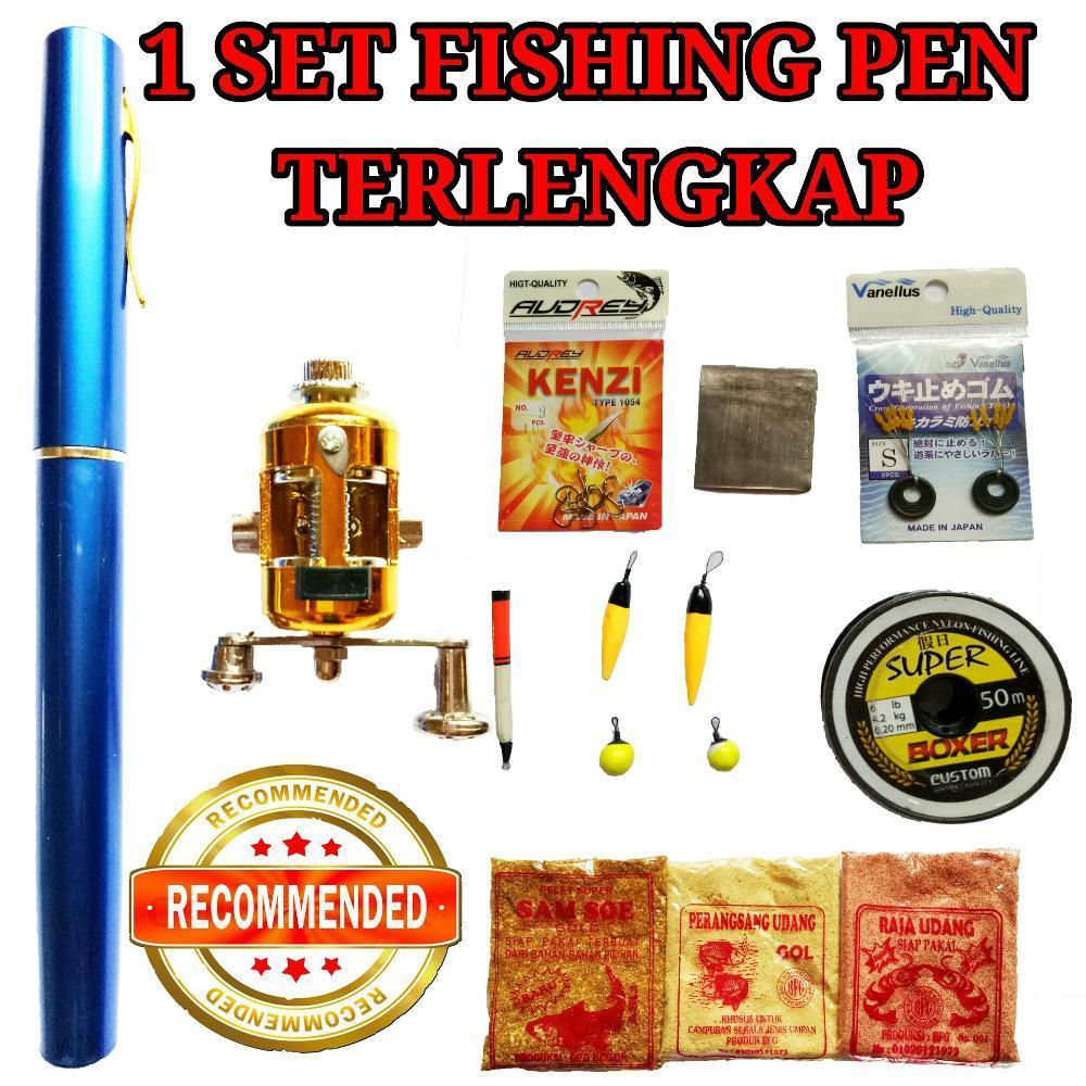 Lengkap Fishing Pen Mini Portable Pancing Pulpen Joran Pena Rod di lapak Andree Fishing or BFG andree_alivio