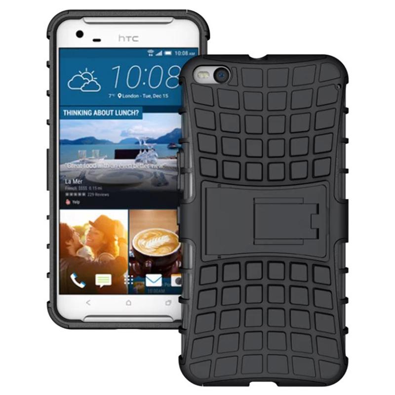PC + Silicone Shockproof Case dengan Kickstand untuk HTC One X9 (Hitam)
