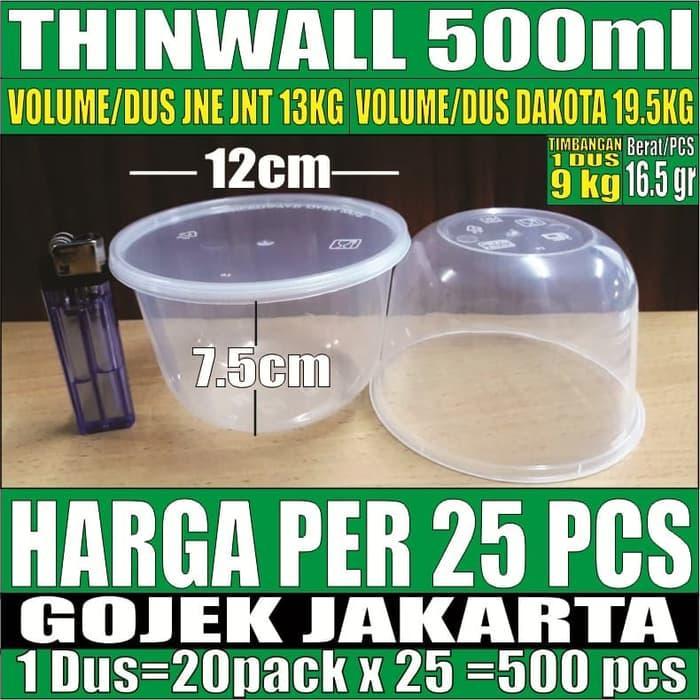 PROMO!!! Thinwall 500 ml Plastik 25 pcs Bowl Mangkok Bubur Tempat Salad Bakmie