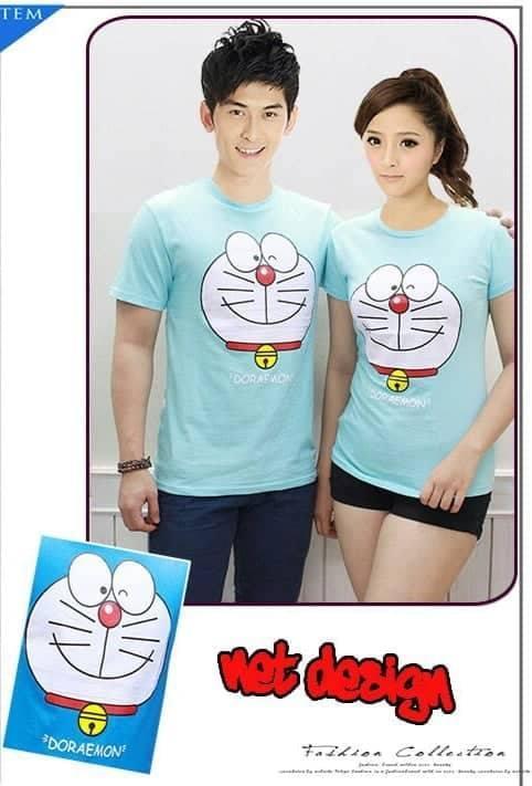 JS - Baju Couple New Doraemon / T-Shirt Pasangan Cowok- Cewek / Kaos