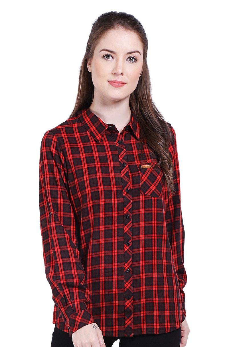 Greenlight Pakaian Blouse dan Kemeja Wanita Ladies Shirt Red