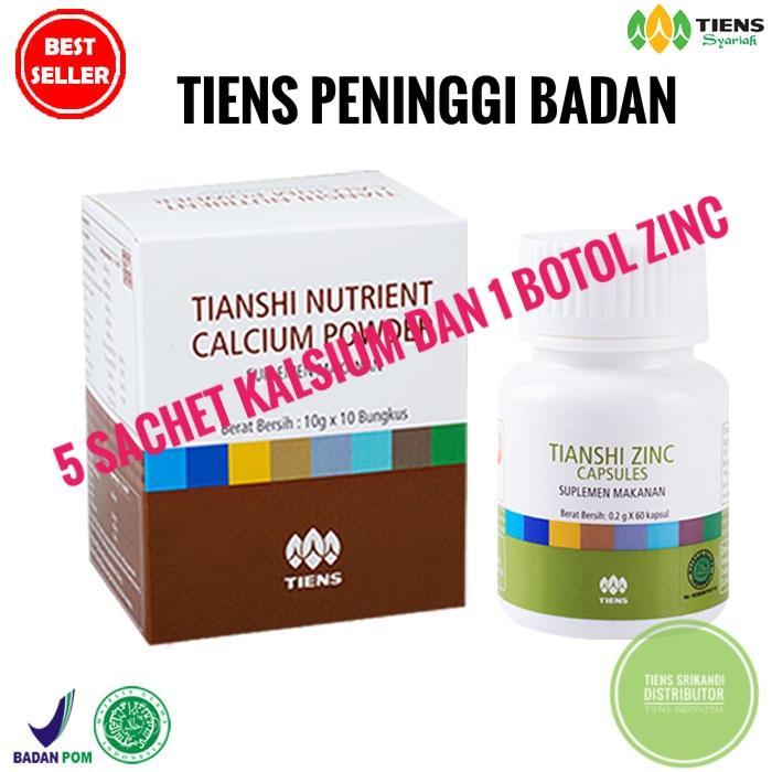 Peninggi Badan Tiens 5 Saset Nutrient High Calsium Powder Dan 1 Botol Zinc Kemasan Ekonomis (PROMO)