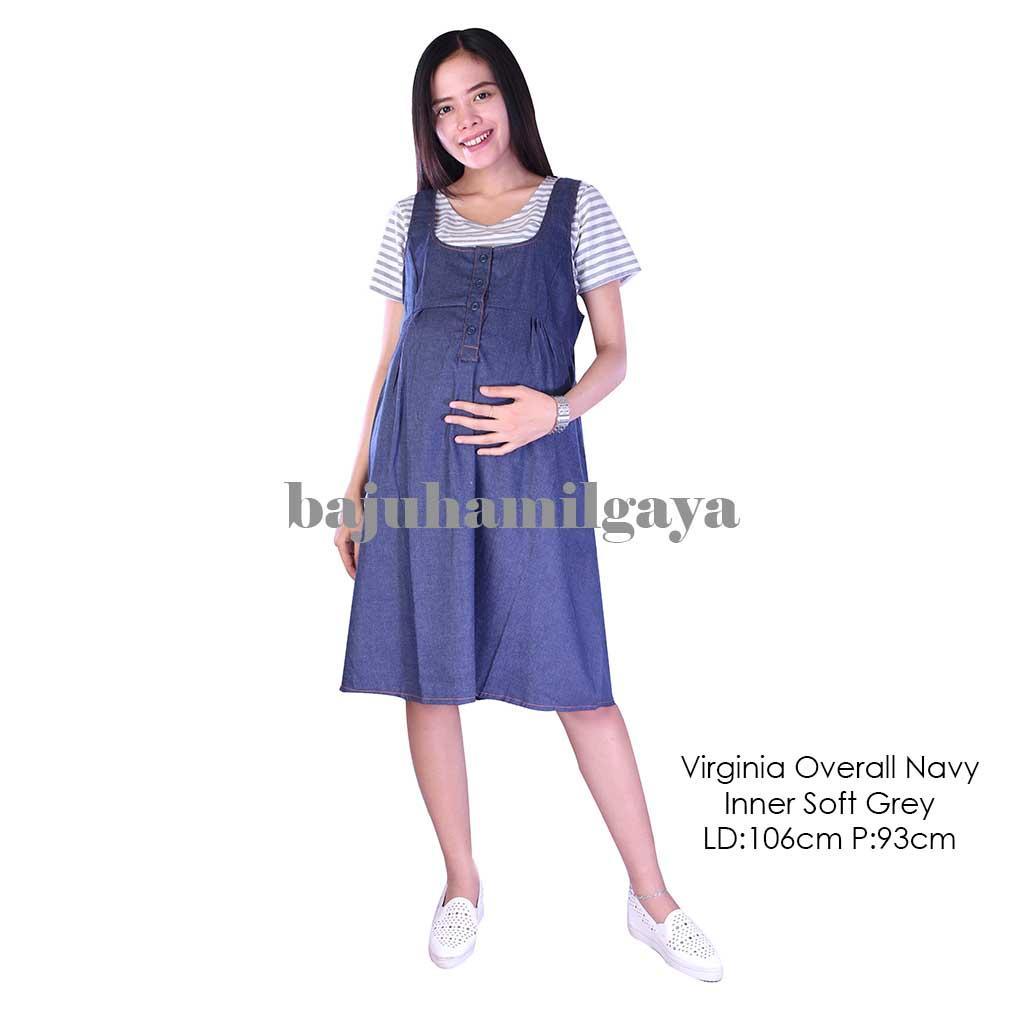 Baju Hamil Gaya Dress Hamil - VIRGINIA OVERALL INNER SOFT GREY - Overall Hamil / Dress Menyusui / Baju Wanita Hamil / Baju Ibu Hamil Murah / Baju Hamil Murah / Baju Hamil Harga Murah / Baju Hamil Pesta / Baju Hamil Santai / Baju Kerja Hamil / Fashion