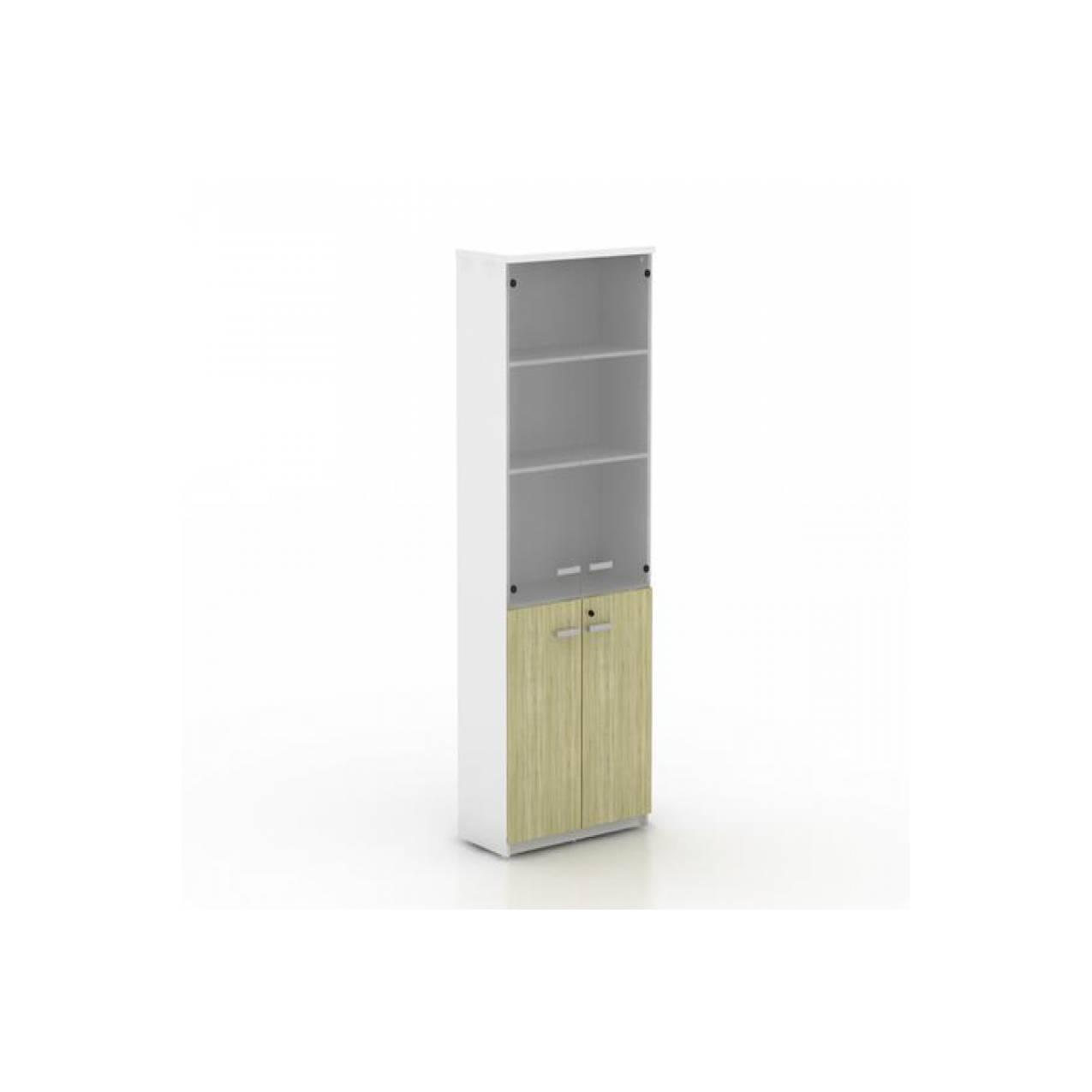 lemari arsip tinggi kayu modera powell atas pintu kaca bawah panel