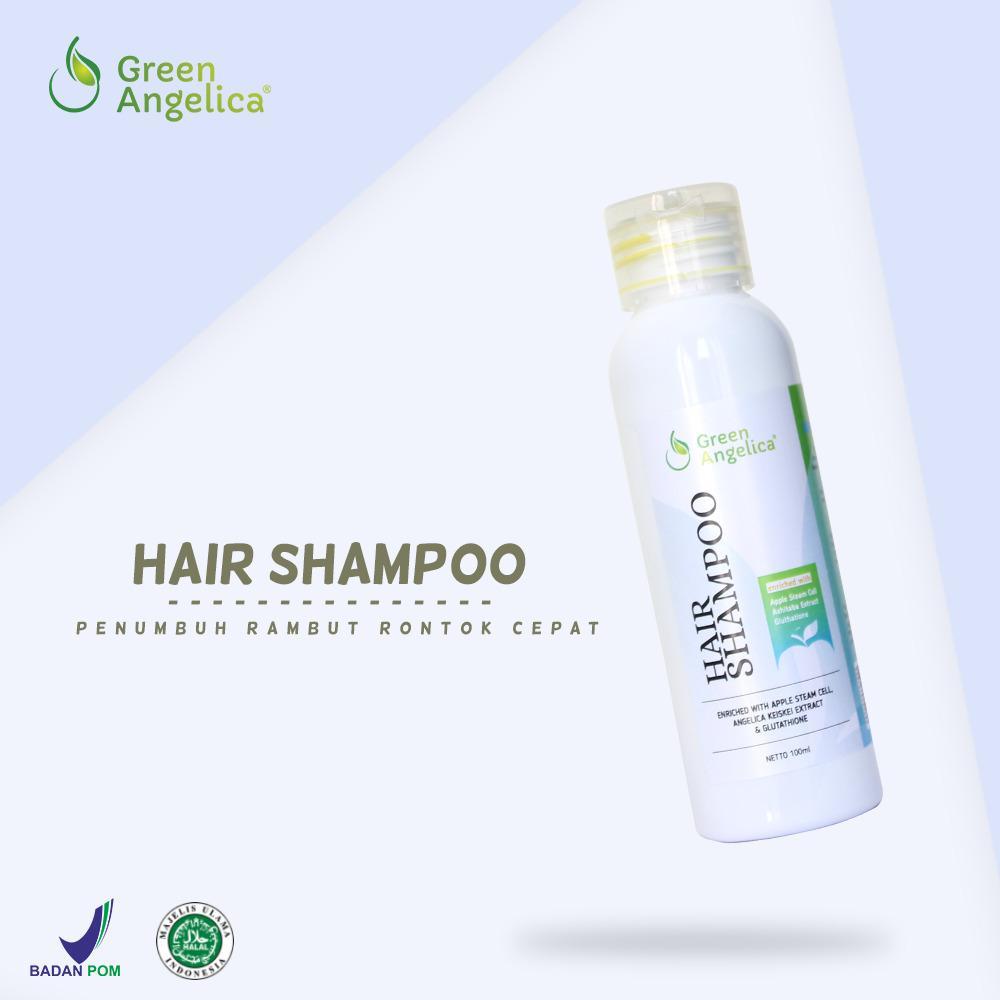 Shampo Penumbuh Rambut Cepat Atasi Rambut Rontok Parah Menghilangkan Ketombe Rambut Rusak Berminyak dan Kusut Green Angelica Hair Regrowth Shampoo