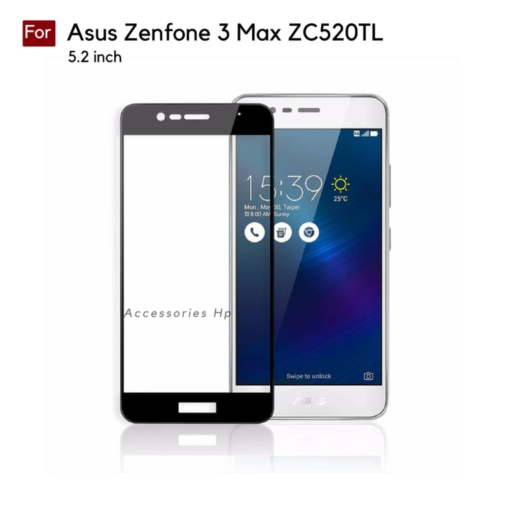 Full Cover Tempered Glass Warna Screen Protector for Asus Zenfone 3 Max 5.2 inch ZC520TL - Black