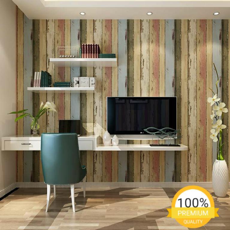 Grosir murah wallpaper sticker dinding kamar ruang indah bagus cantik elegan kayu vintage coklat abu abu