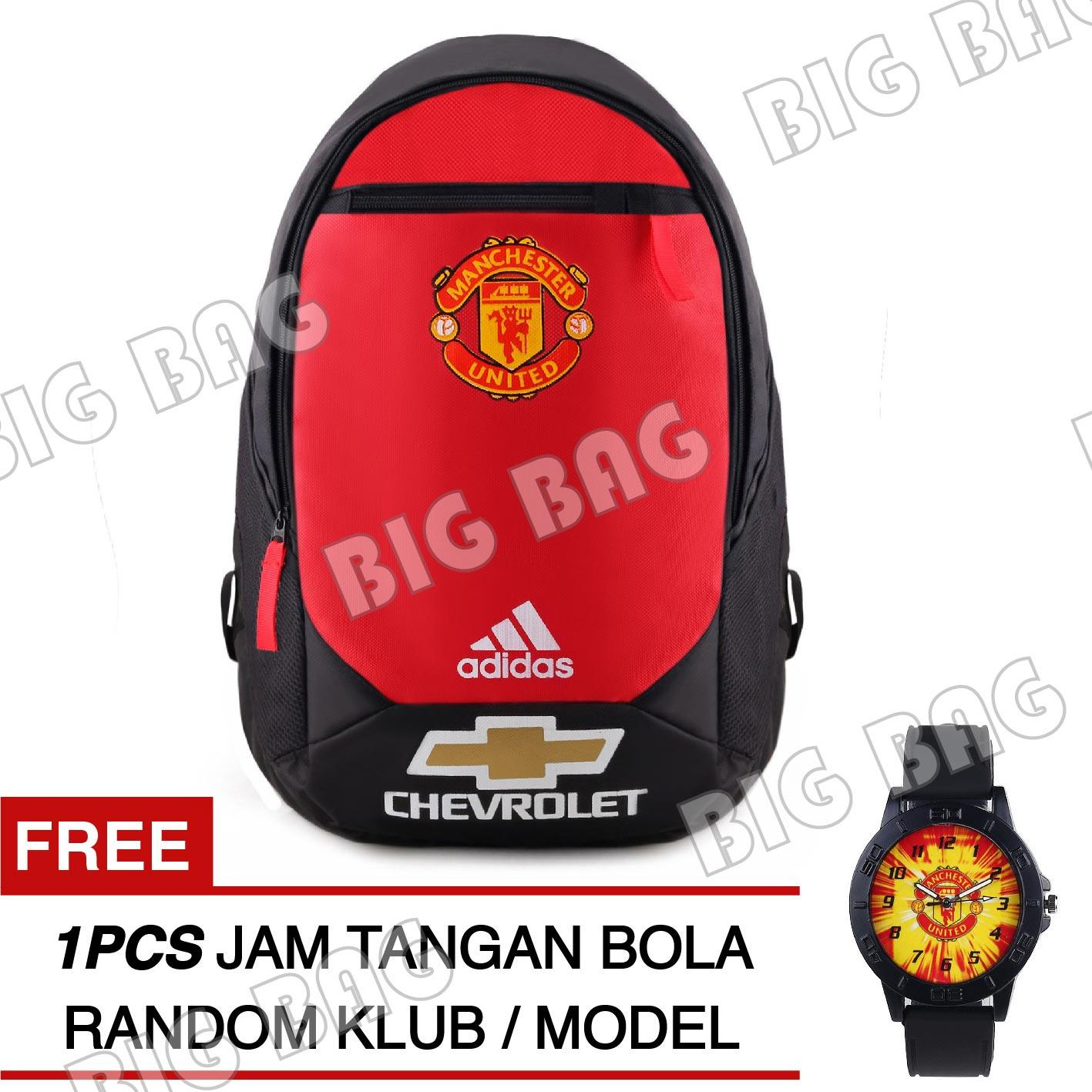 Tas Ransel Adidas Bola Pria M.U Chevrolet Laptop Backpack Men Soccer Editions - Red + Raincover + FREE Jam Tangan Pria Random Color / Model