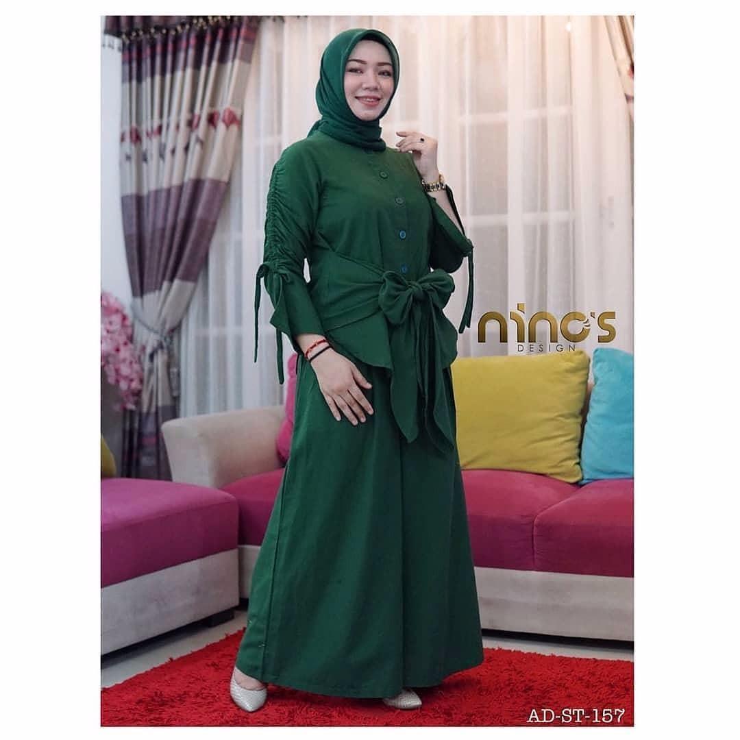 Setelan Anglina Set Balotelly Baju Wanita Hijab Trendy Celana Kulot + Baju Atasan Panjang Setelan Wanita Muslim Modern Modis Casual Trendy Terbaru 2018