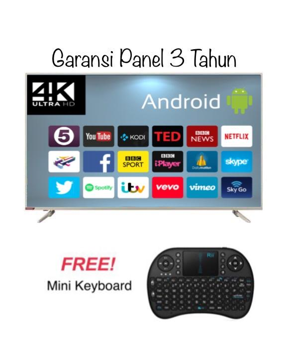Changhong 55E6000i Android LED TV Smart - Silver [55 Inch/ UHD 4K] + MINI KEYBOARD