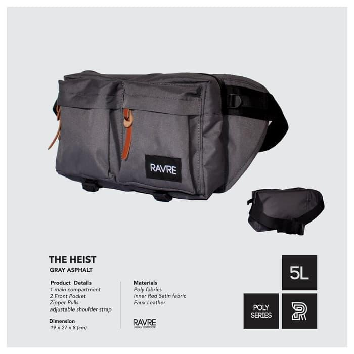 HARGA DISKON!!! Tas Pinggang Hip Waist Cross Body Bag - Ravre The Heist Grey Asphalt - Ze2fTB