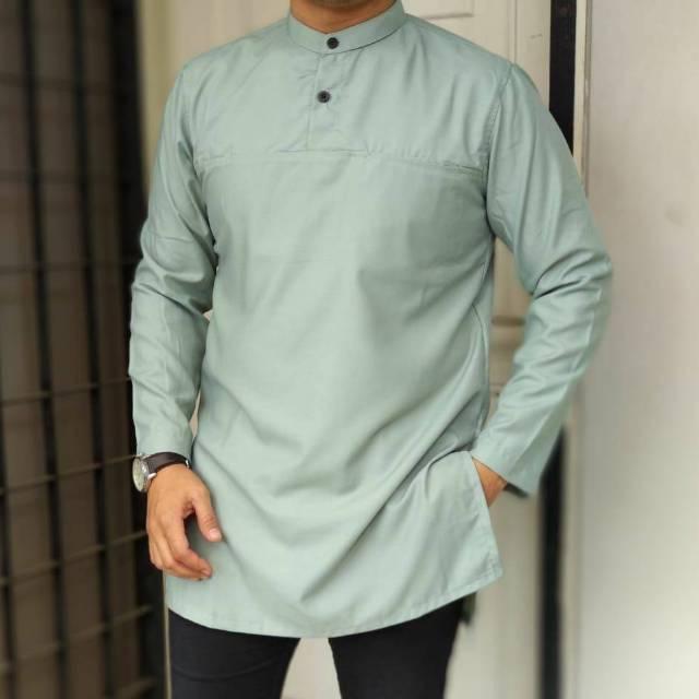 Baju Muslim Sunnah Kurta Pakistan Gamis Murah Pria Remaja Dewasa Polos Simple Lengan Panjang Kancing (Hijau Tosca L)