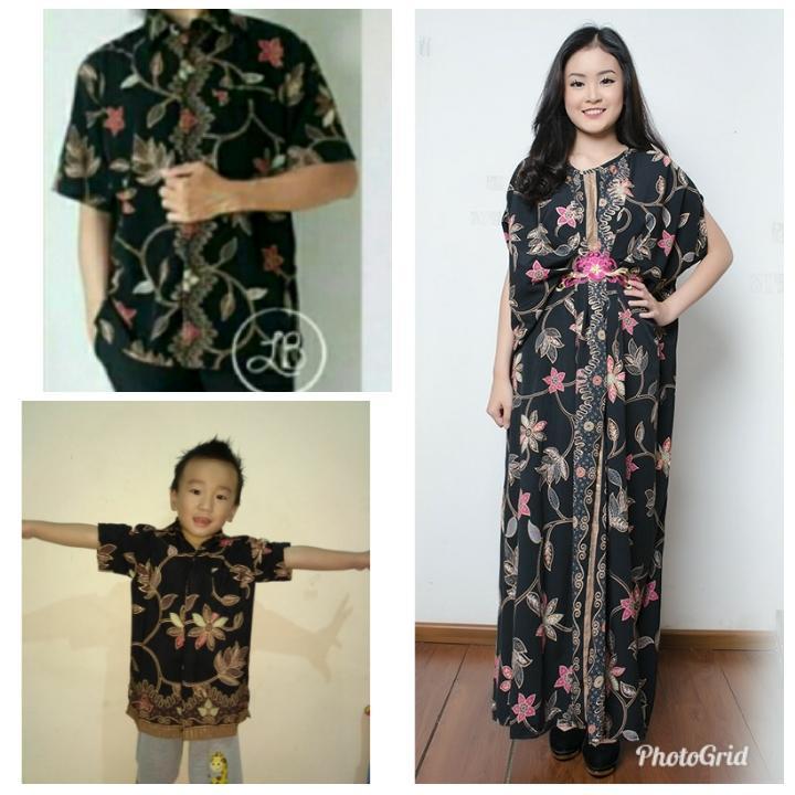 Cj collection Stelan couple batik family 3in1 baju batik dan gamis kaftan bapak dan anak atasan kemeja pria dewasa dan kemeja anak-anak dan dress maxi panjang gamis kaftan wanita jumbo long dress Aina M-XL