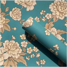 Wallpaper-dinding walpaper stiker dinding 45cm x 10m Motif Shabby Chic Hijau Tosca