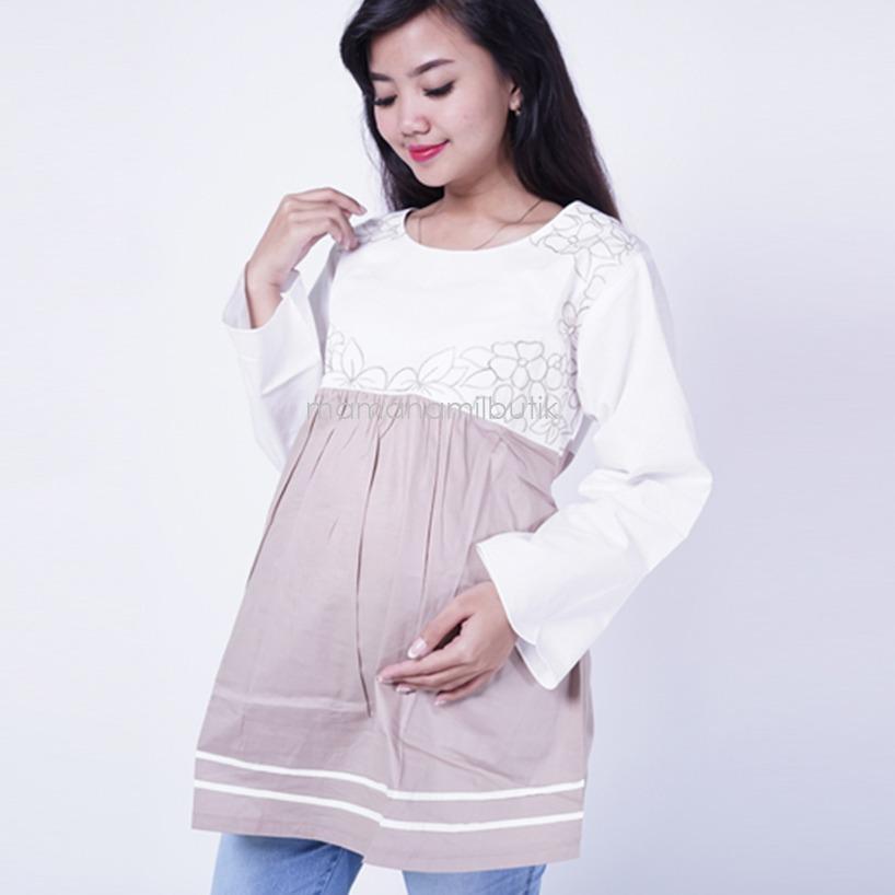 Ning Ayu Baju Hamil Lengan Panjang Jasmine Blouse - BLJ 424 / Baju Hamil Muslim / Baju hamil Kerja / Baju Hamil dan Menyusui / Baju Hamil Lucu / Baju Hamil Panjang /  Baju Hamil Wanita / Baju Hamil Kerja Muslim