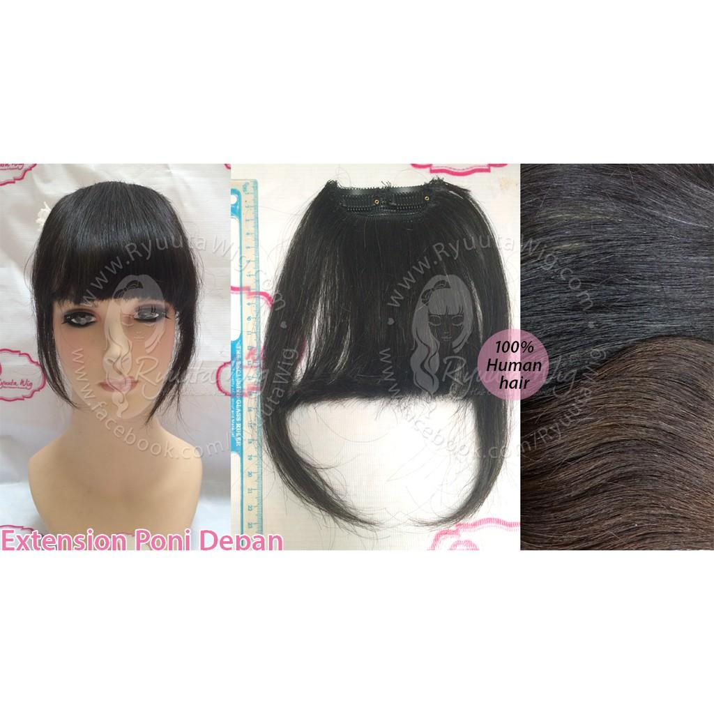 PONI BANGS HUMAN HAIR extension rambut sambung asli Variasi 15cm Dark brown