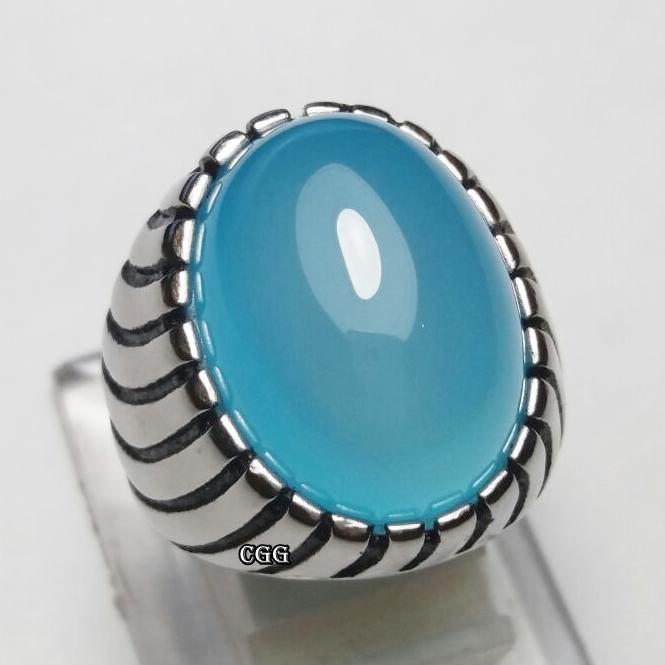 NEW Promo Perhiasan BATU CINCIN NATURAL BLUE TOSCA CHALCEDONY KRISTAL BERGIWANG LANGKA Murah