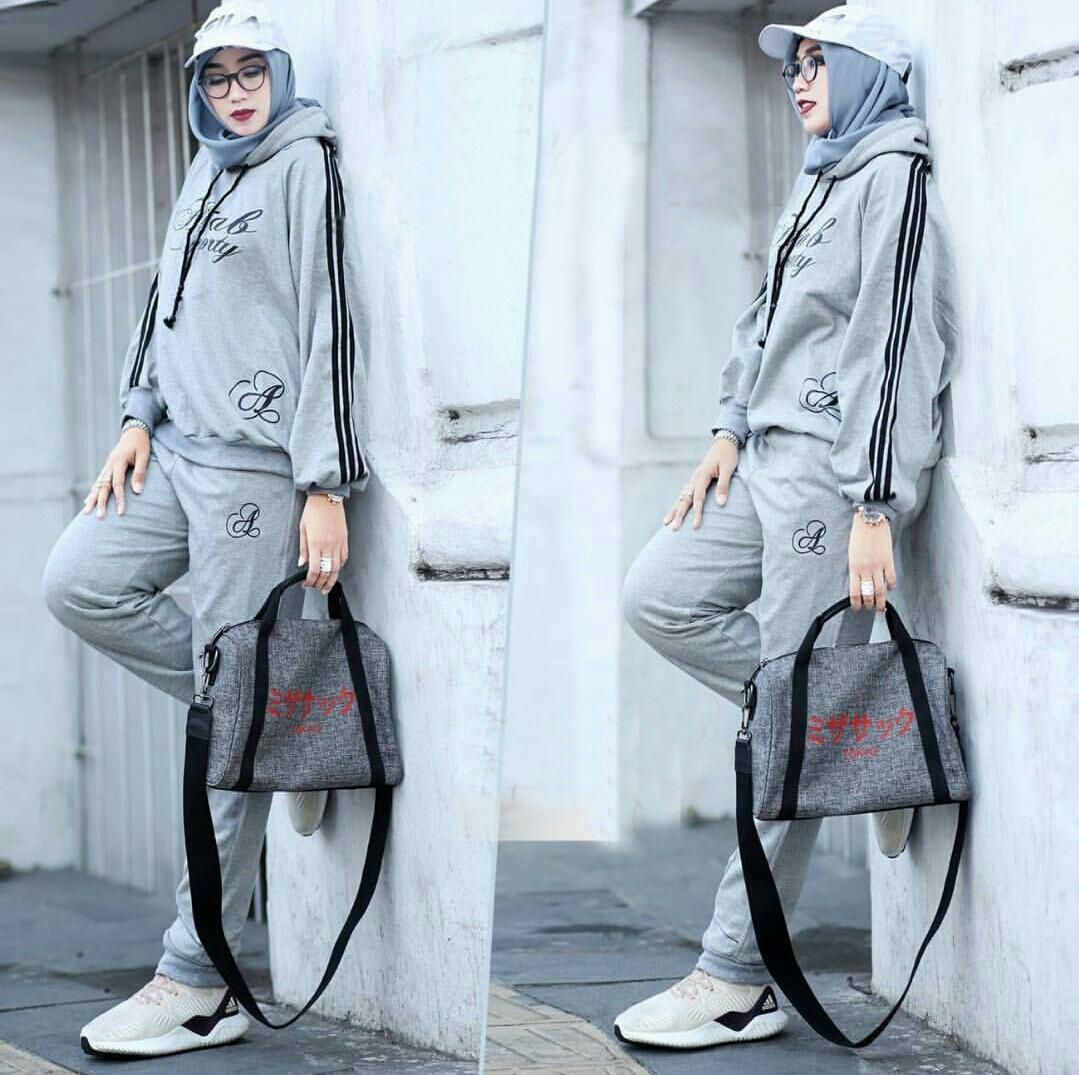 Lazda/fhl/set hijab sporty hodie/stelan sweater dan training/stelan kekinian