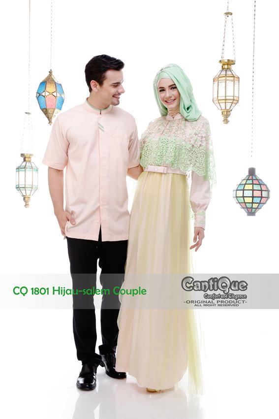 Baju Couple Keluarga Muslim Lebaran - CQ 1801 - Hijau Salem