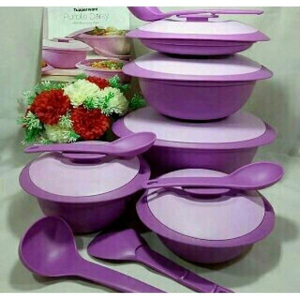 Tupperware Purple Daisy Set - mangkuk saji warna ungu