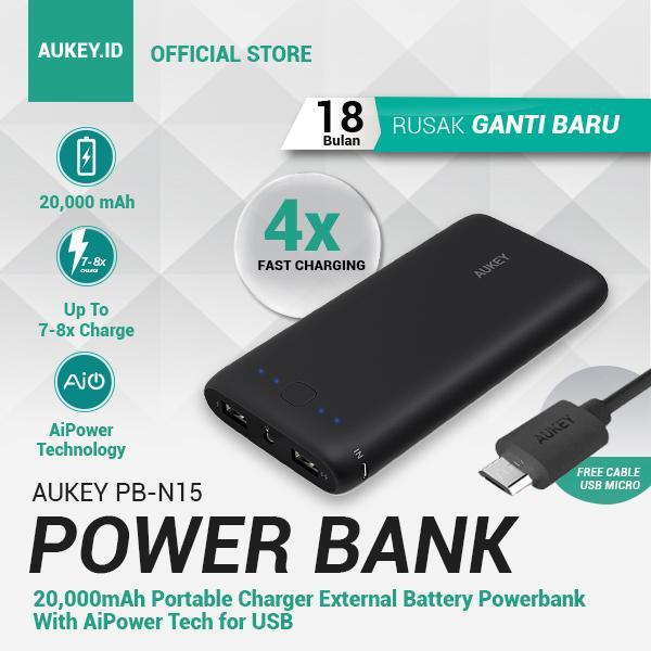 [SPECIAL PROMO] Aukey Powerbank PB-N15 20.000mAh Qualcomm Technology – (Quick Charging, Garansi Resmi GANTI BARU 18 Bulan)