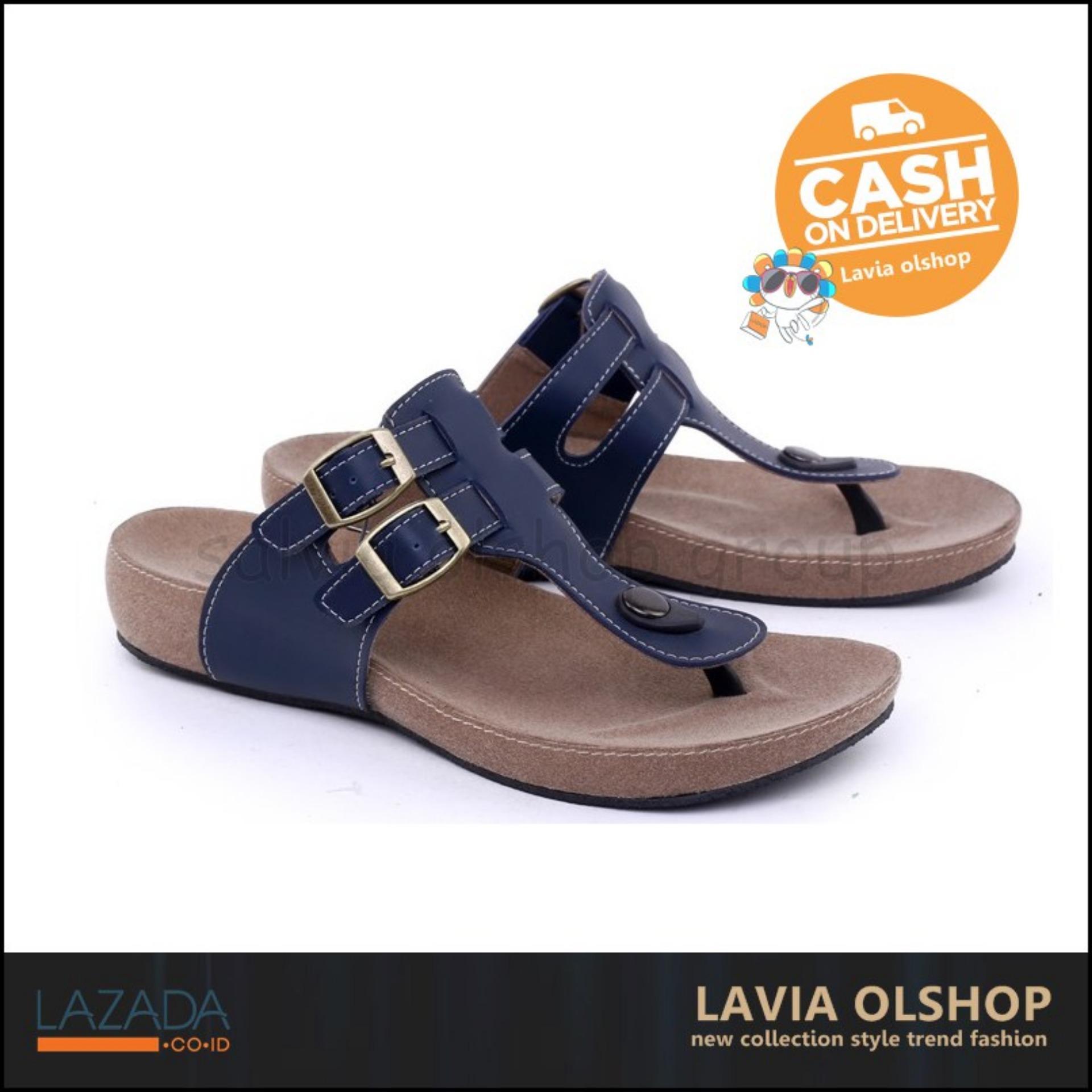 Shoes Sandal Flat Wanita Lucu Dan Modis Model Terbaru GDE 8581 - Biru