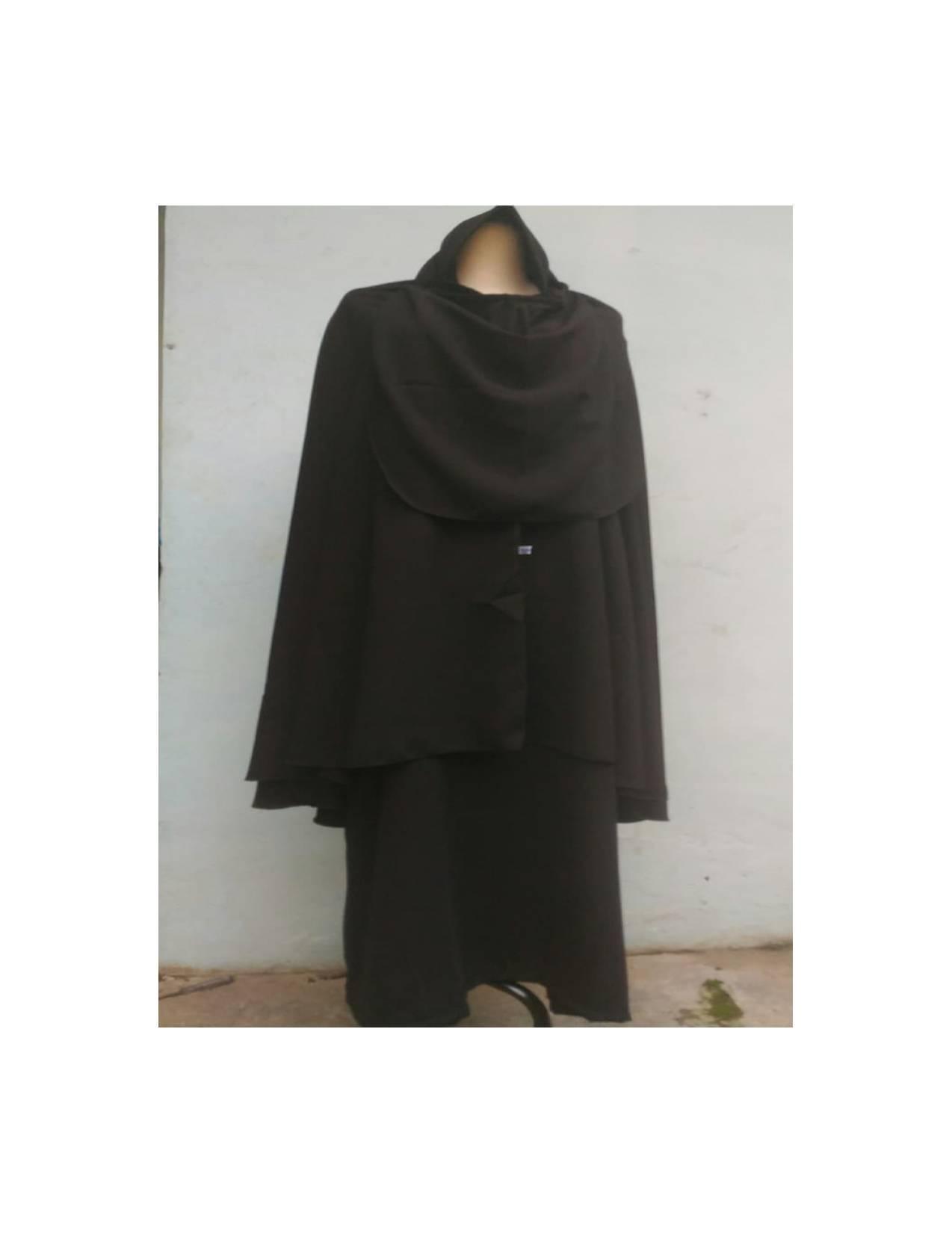 BAJU MUSLIM DRESS Setelan Gamis Polos Cadar Tali Jilbab warna hitam