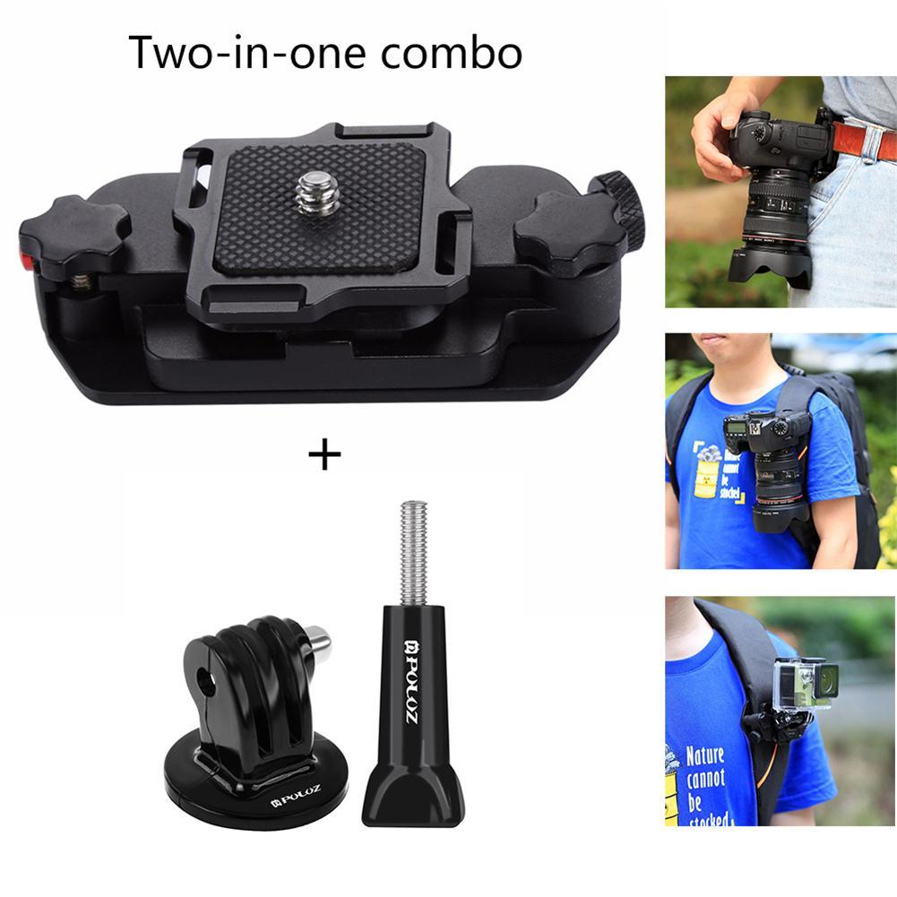 Joint Victory Belt Clip Holster Aluminum Alloy Strap Buckle Quick Release Clamp Plate with 1/4 Tripod Screw Mount for GoPro and Digital SLR Camera