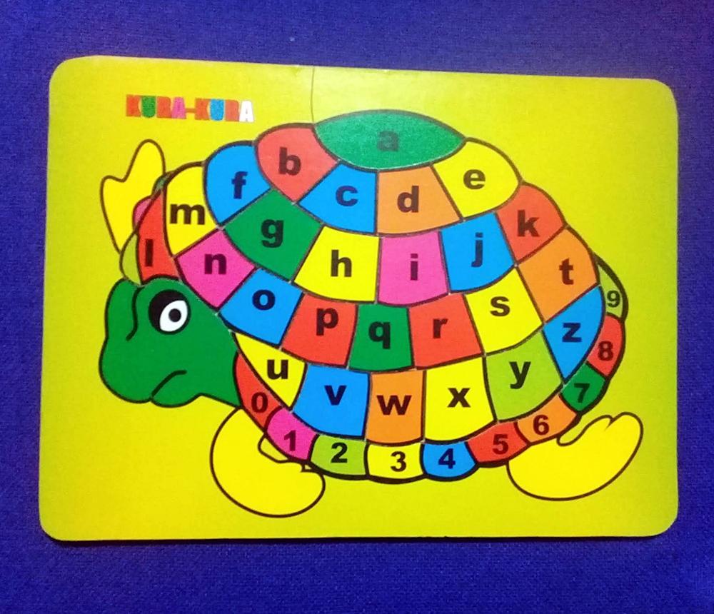 Puzzle Kayu Kura - Kura Huruf Abjad Alphabet / Alfabet abc Mainan Anak Mainan Edukasi Anak