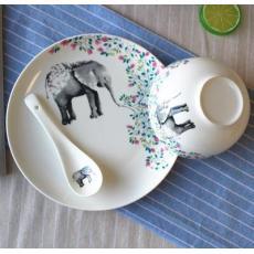 [Setiap Hari Harga Spesial] Jingdezhen Kartun Keramik Hiasan berwarna Imut hewan Nasi Putih Makanan