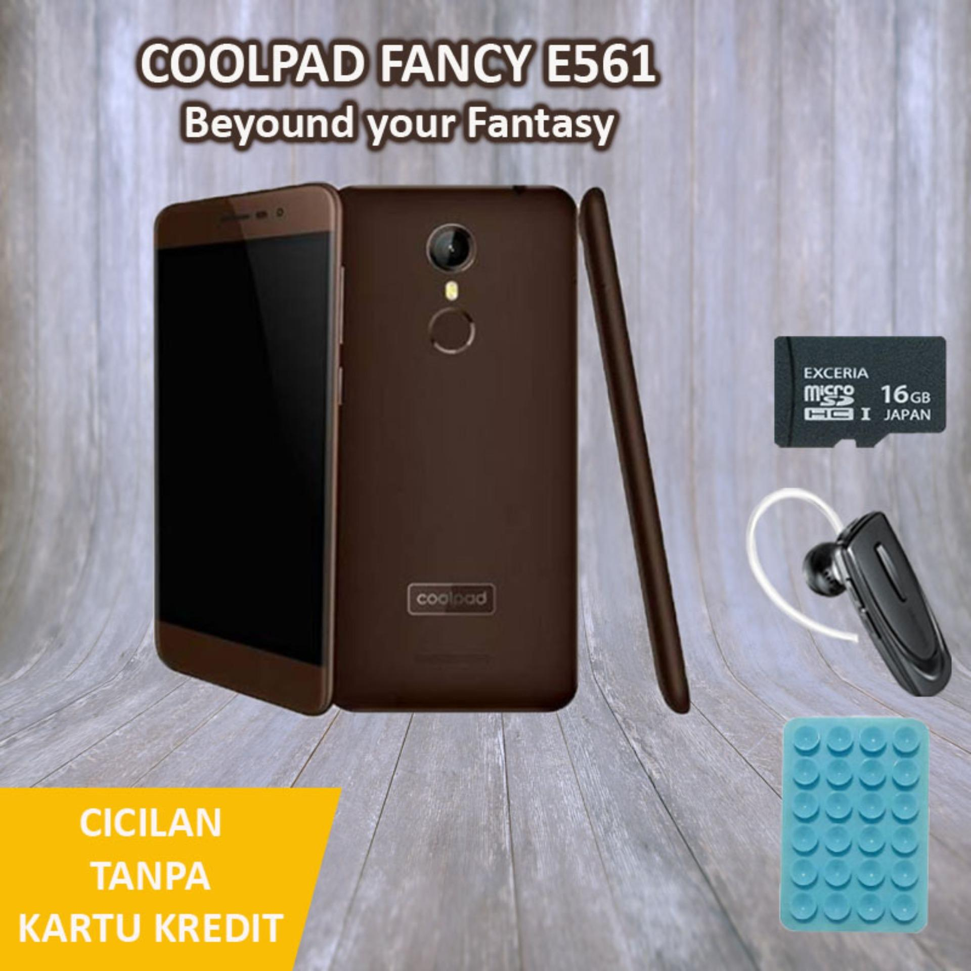 Coolpad Fancy E561 Smartphone - Coffe Brown [16GB/2GB] + Free 3 Item