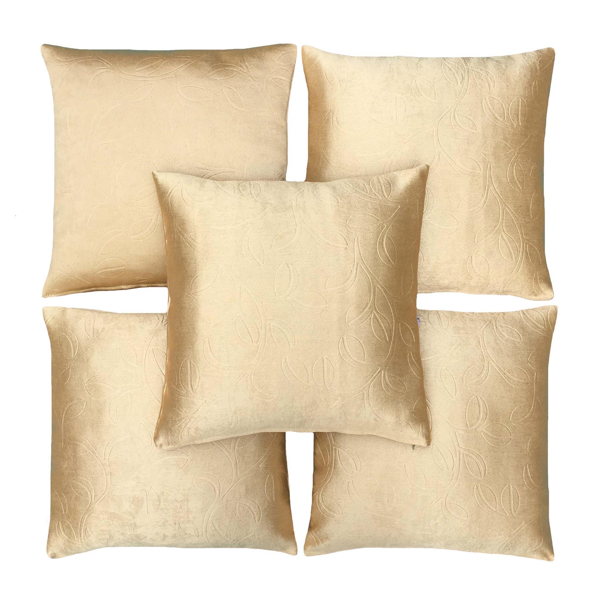 Flanelade Sarung Bantal Sofa Motif Embos Bold - Gold - 5 Buah