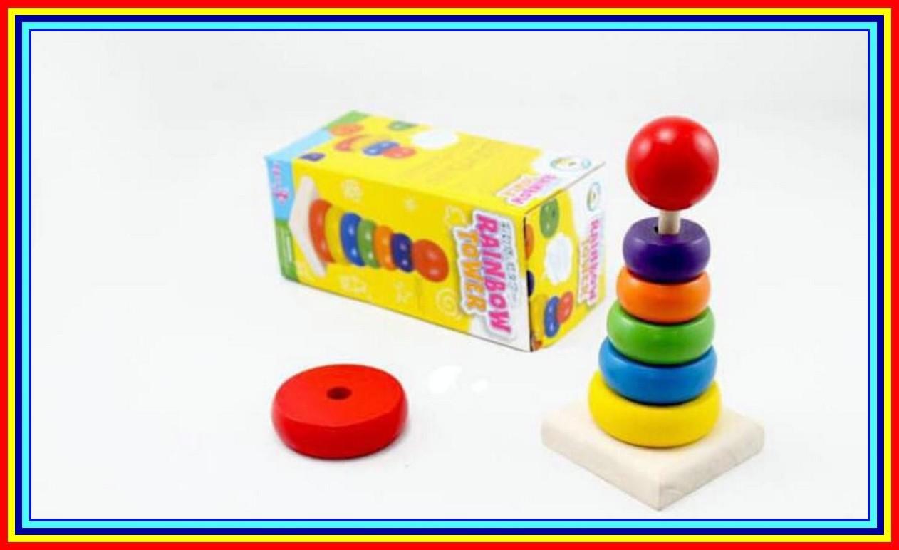 Buy Sell Cheapest Qimiao Permainan Menara Best Quality Product Donat Pelangi Mainan Edukatif Edukasi Anak Balok Kayu Rainbow Tower Donut