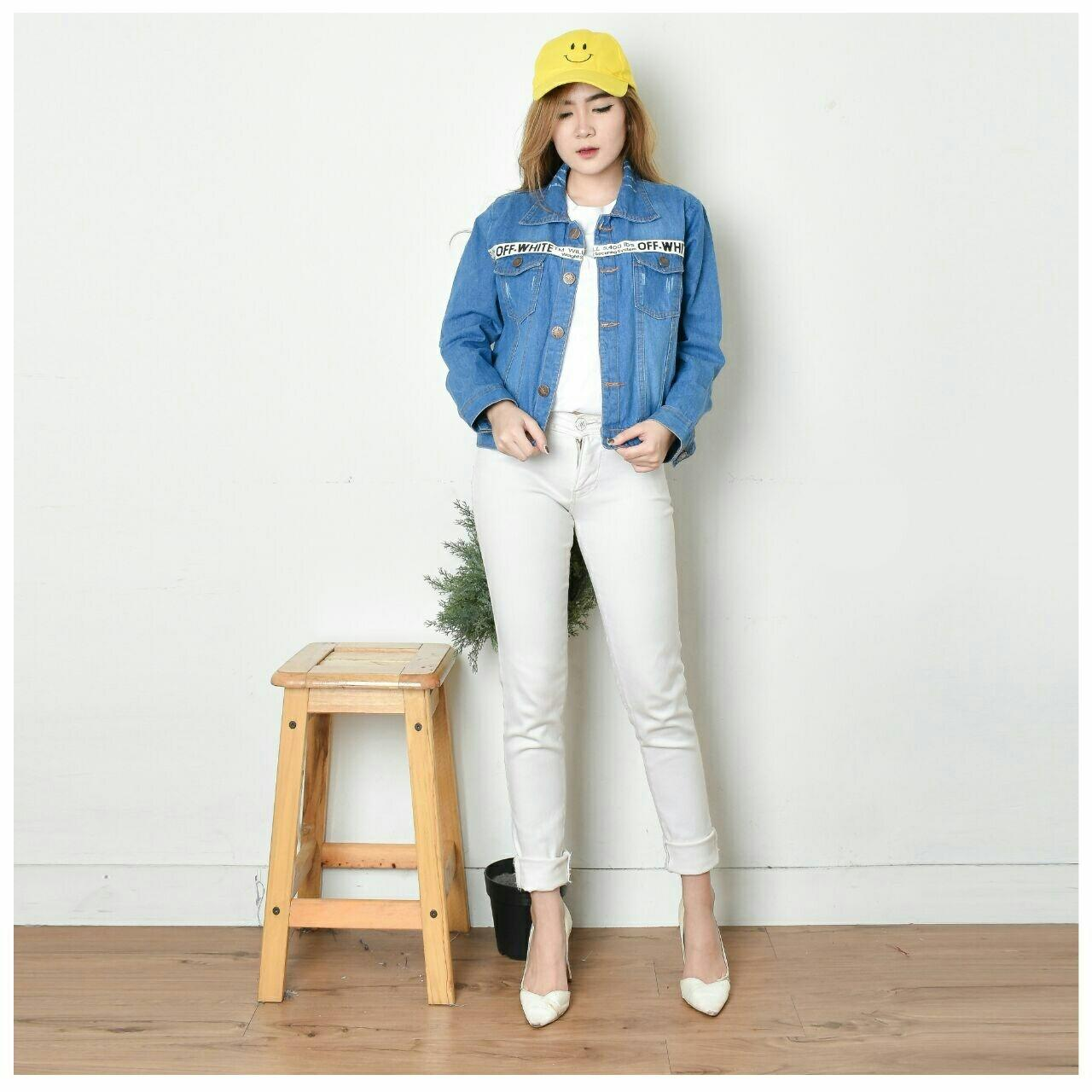 Jaket Jeans Wanita MEDIUM LIST OFF WHITE PUTIH