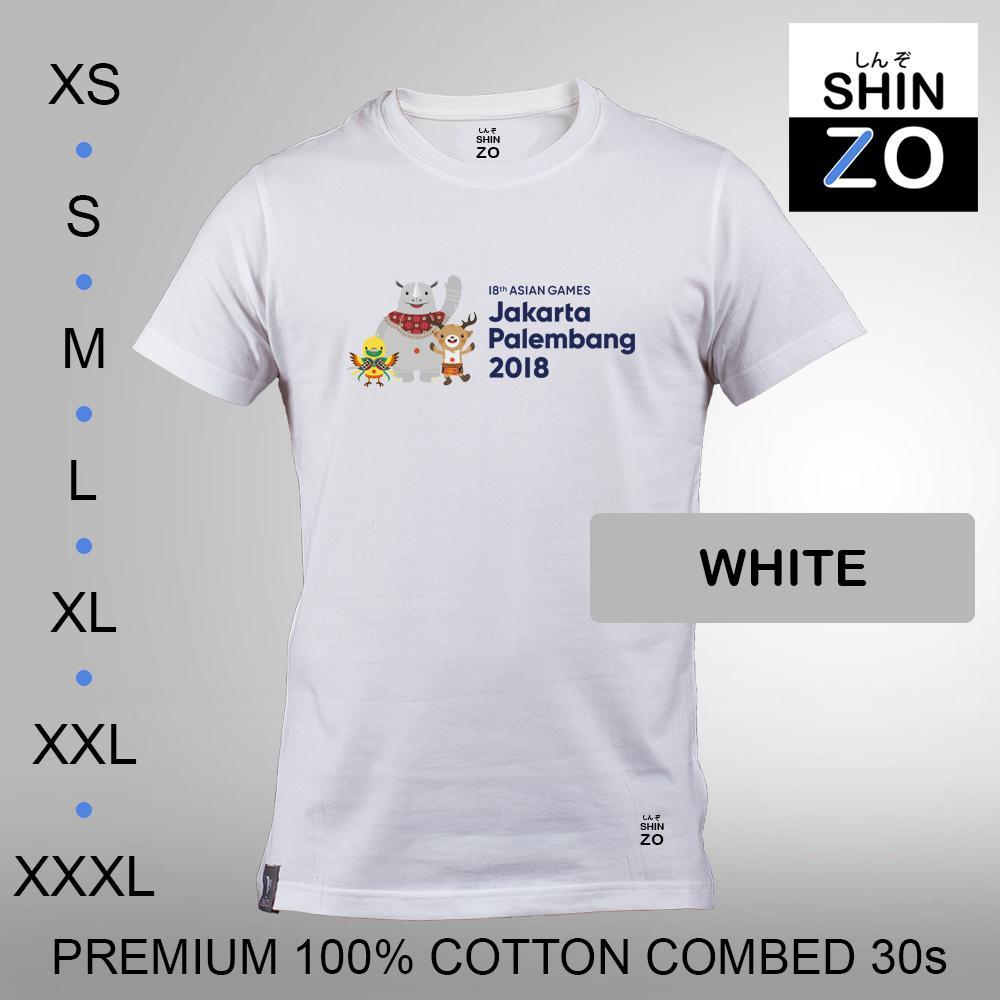 Shinzo Design - Kaos Oblong Distro T Shirt Tee Casual Fashion Atasan Cloth Anime Custom - Premium Cotton Combed 30s Ring Spun Export Quality - Pria - 18th Asian Games 2018 Jakarta Palembang Bhin Bhin Kaka Atung Mascot - White Putih