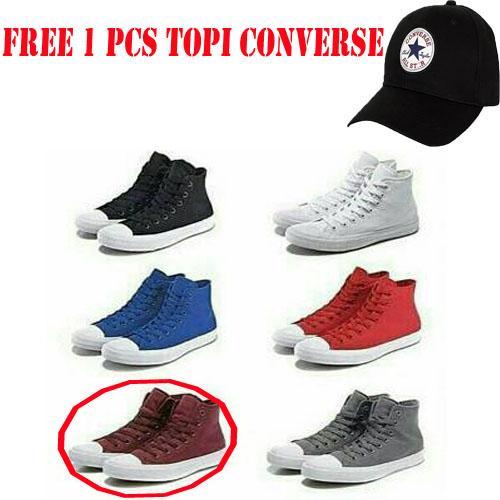 Sepatu Converse All Star-Polos-model tinggi-pria wanita(gratiss topi converse)