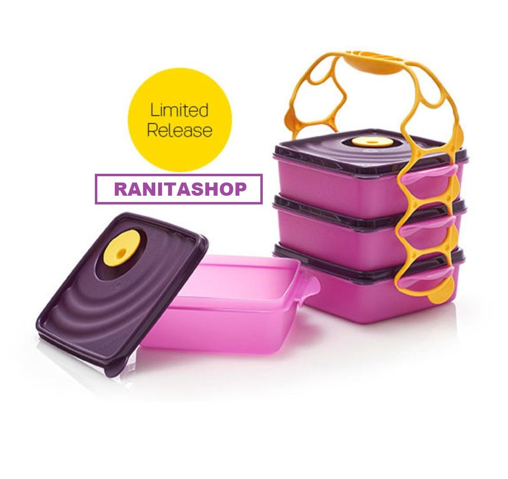 Tupperware Crystalwave Goodie Box 4 Layer  - Rantang 4 susun warna ungu