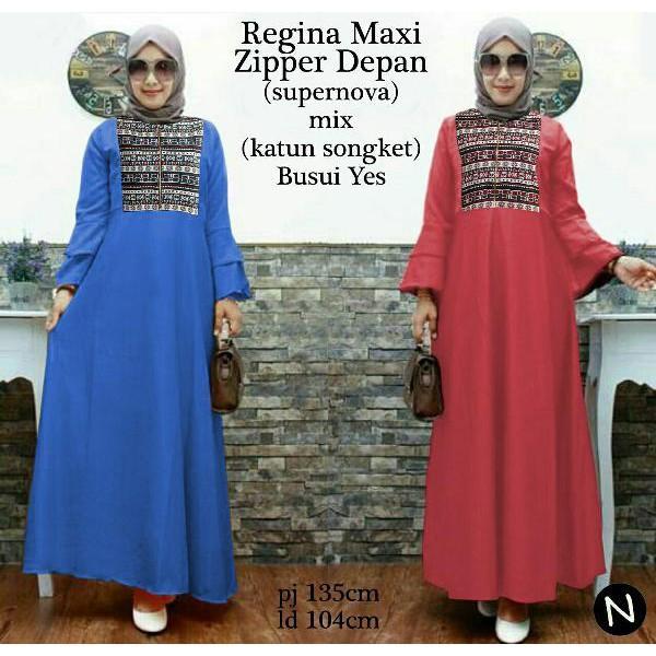 Promo Hari Ini Cn 6960 Liona Maxi Dress Terusan Gamis Syari Batik Songket Etnik Wanita Murah Simple