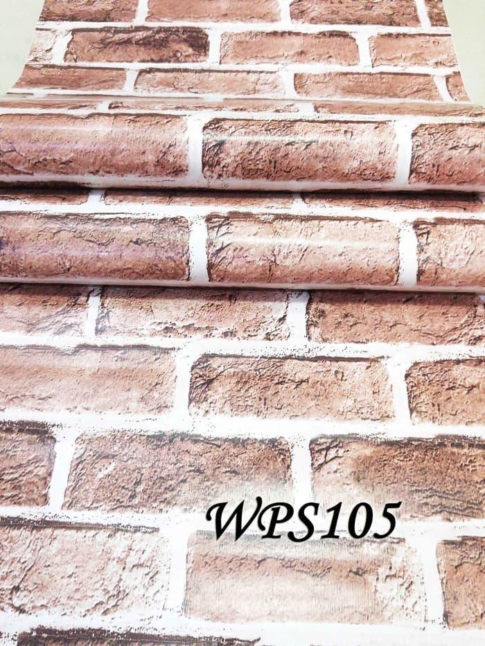 PROMO WALLPAPER STICKER 45CMX5M- WPS105-BATA BESAR COKLAT TERLARIS