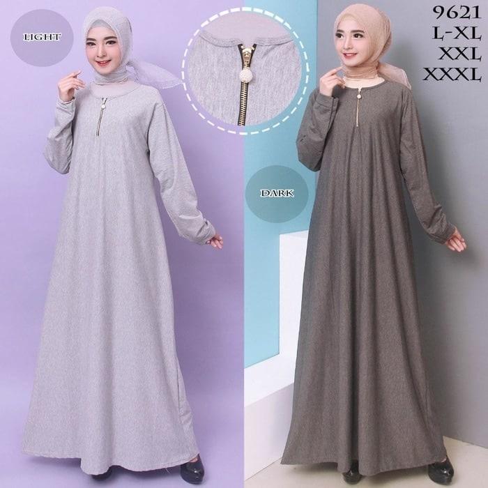 Baju Gamis Wanita Gamis Jumbo Polos L - XXXL Bahan Misty 9621 - LIGHT GREY, XXL-XXXL