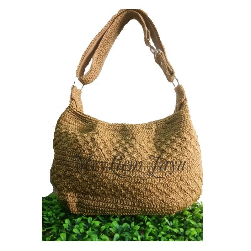 Larisso Shop Tas Rajut Hobo Balon Mini - Krem