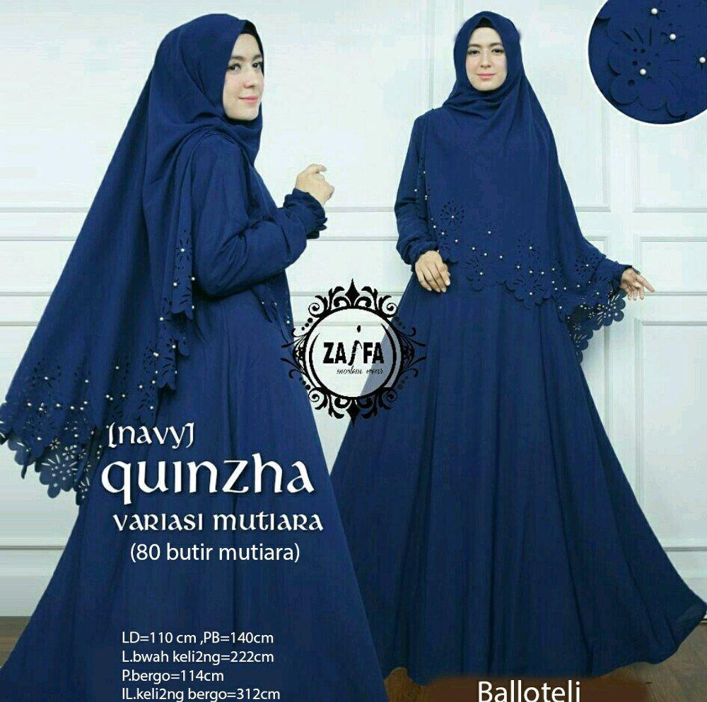 LimitedCollection88 - Maxi Dress Gamis Hijab Quinzha Mutiara - Navy Tosca Pink Grey Maroon / Dress