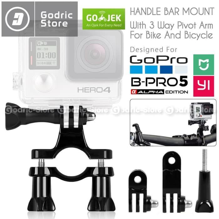 GoPro Bike Handle Bar Mount w/ 3-Way Adjustable Pivot Arm for GOPRO,