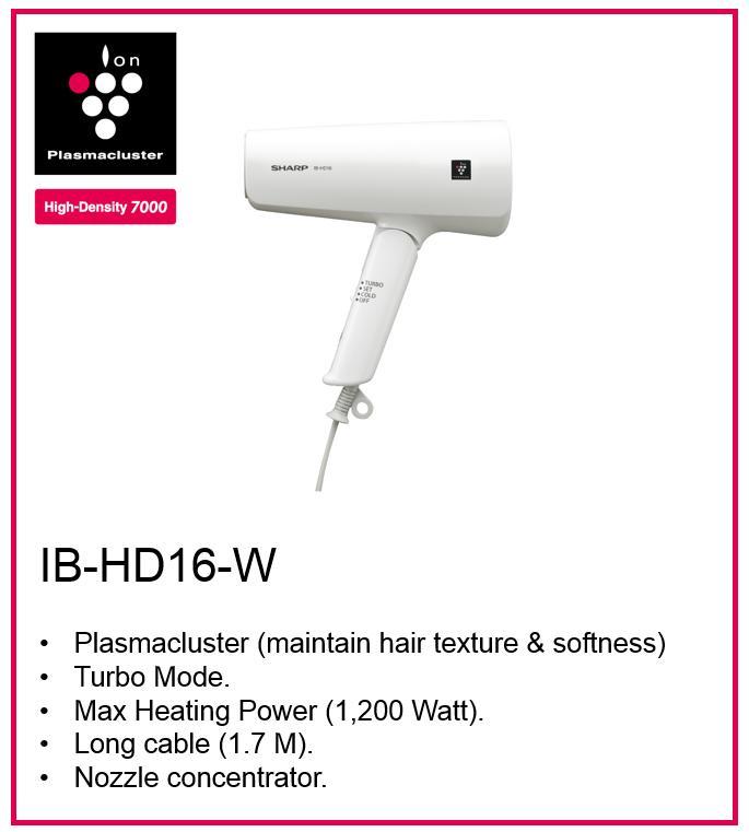 IB-HD16-W Hair Dryer Plasmacluster