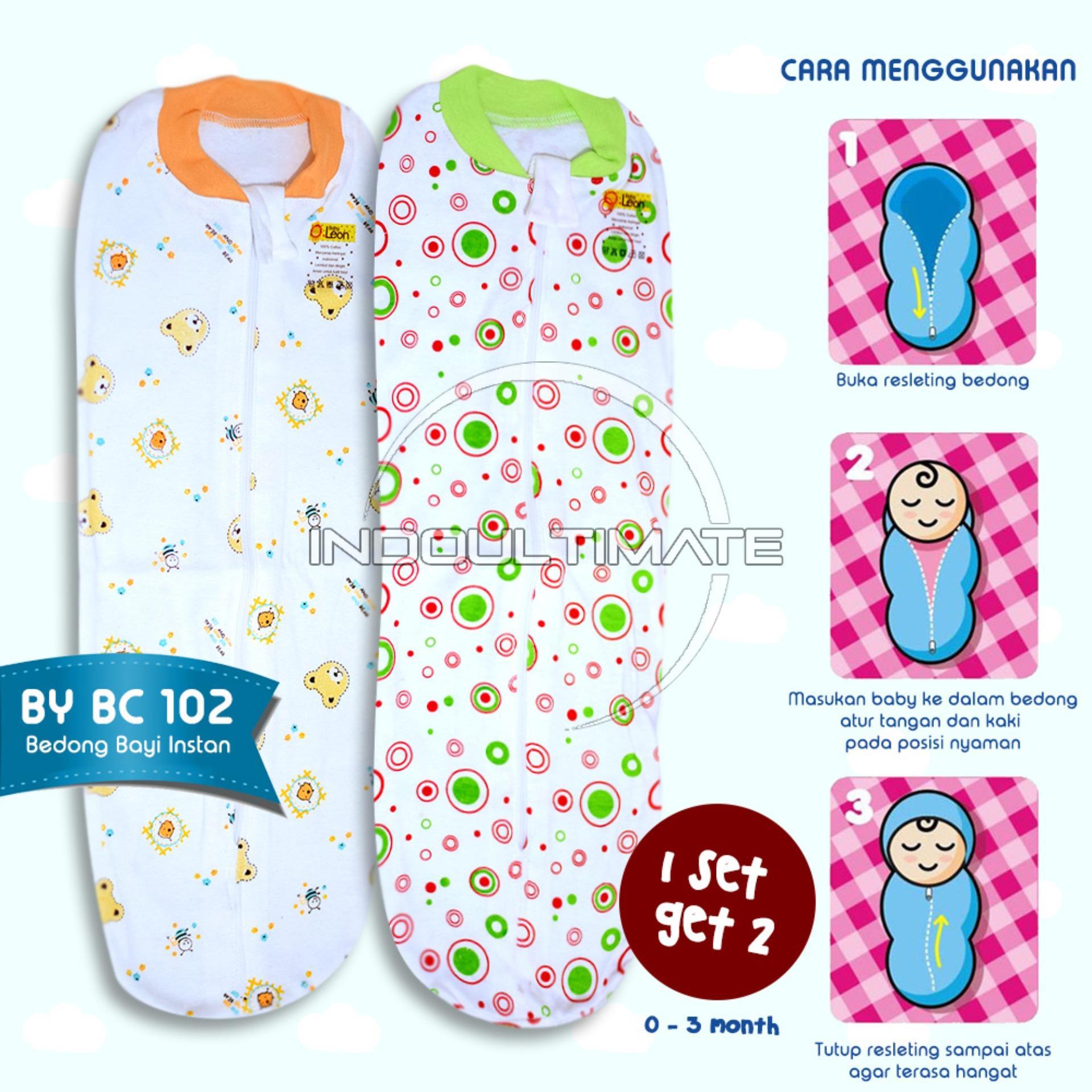 BABY LEON Bedong Bayi Instan BC 102 New Born 2Pcs 100 % COTTON Bedongan Murah Berkerah Mix Colour