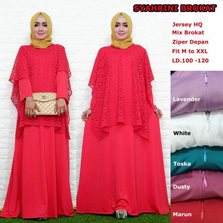 Gamis Long dress maxi wanita muslim brokat syahrini. cape fit XXL