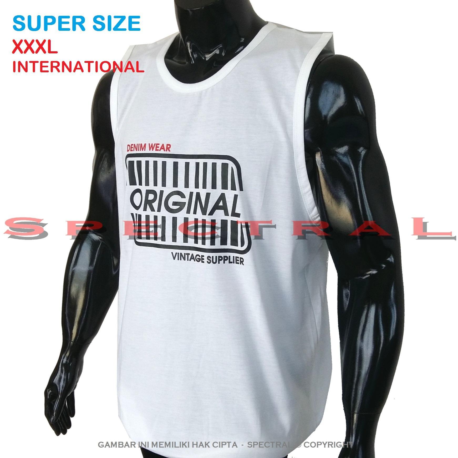 Spectral – 3XL SINGLET SUPER BIG SIZE XXXL 100{55e037da9a70d2f692182bf73e9ad7c46940d20c7297ef2687c837f7bdb7b002} Cotton Combed Kaos Distro Jumbo T-Shirt Fashion Ukuran Besar Polos Celana Olahraga Atasan Pria Wanita Dewasa Bapak Orang Tua Muda Terbaru Gemuk Gendut Sport Bagus Keren Baju Cowo Cewe Pakaian 3L ORIGINAL