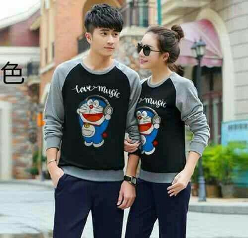 Best Seller - Couple Doraemon Love Music Hitam Abu Misty LO - Couple Baju Babyterry - Couple Baju Babyterry Model Terbaru